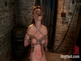 Hawt red head with GIANT lactating teats severely tied in a reverse prayerMade to cum!