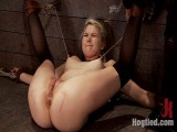 Shy hawt blond beauty is trapped, fastened, humiliatedLong legs spread wide, made to cum like a slut
