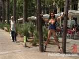Spanish Babe acquires Throat Fucked on the StreetBound in front of a busy cafe!