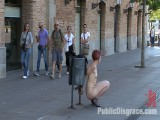 European Gal Made to Jerk off a Stranger and Walk Throughout the Streets With his load on her Face