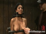 Taut bodied brunette rides the sybian