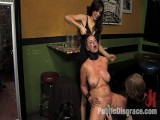 Breasty brunette hair fucked in front of a bar full of people!!!!