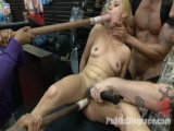 Tiny blond deflowered in sleazy sex shop. First ever porn shoot!